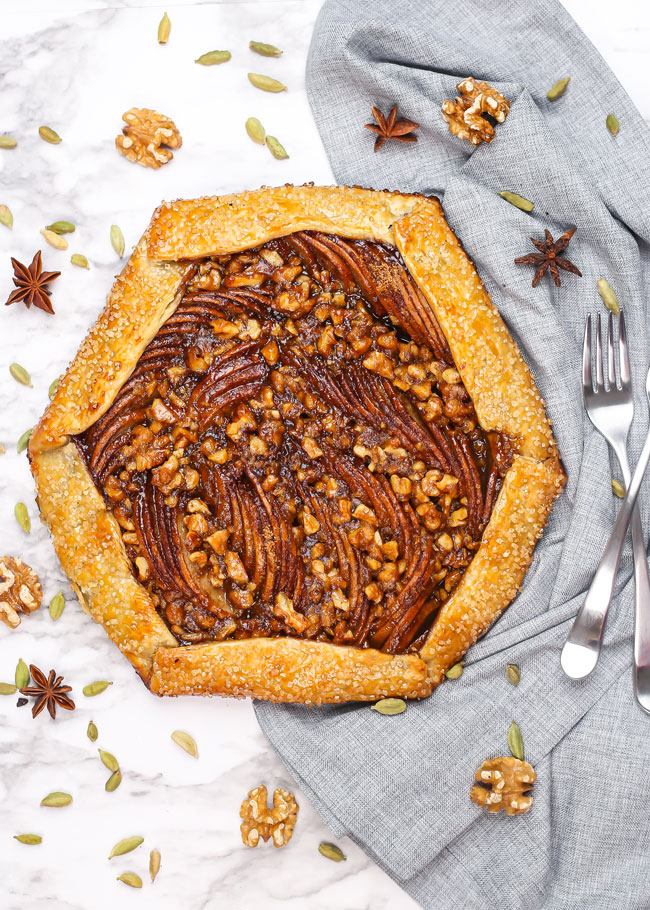 a pear galette decorated with spices