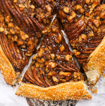 a slice of pear galette with walnuts
