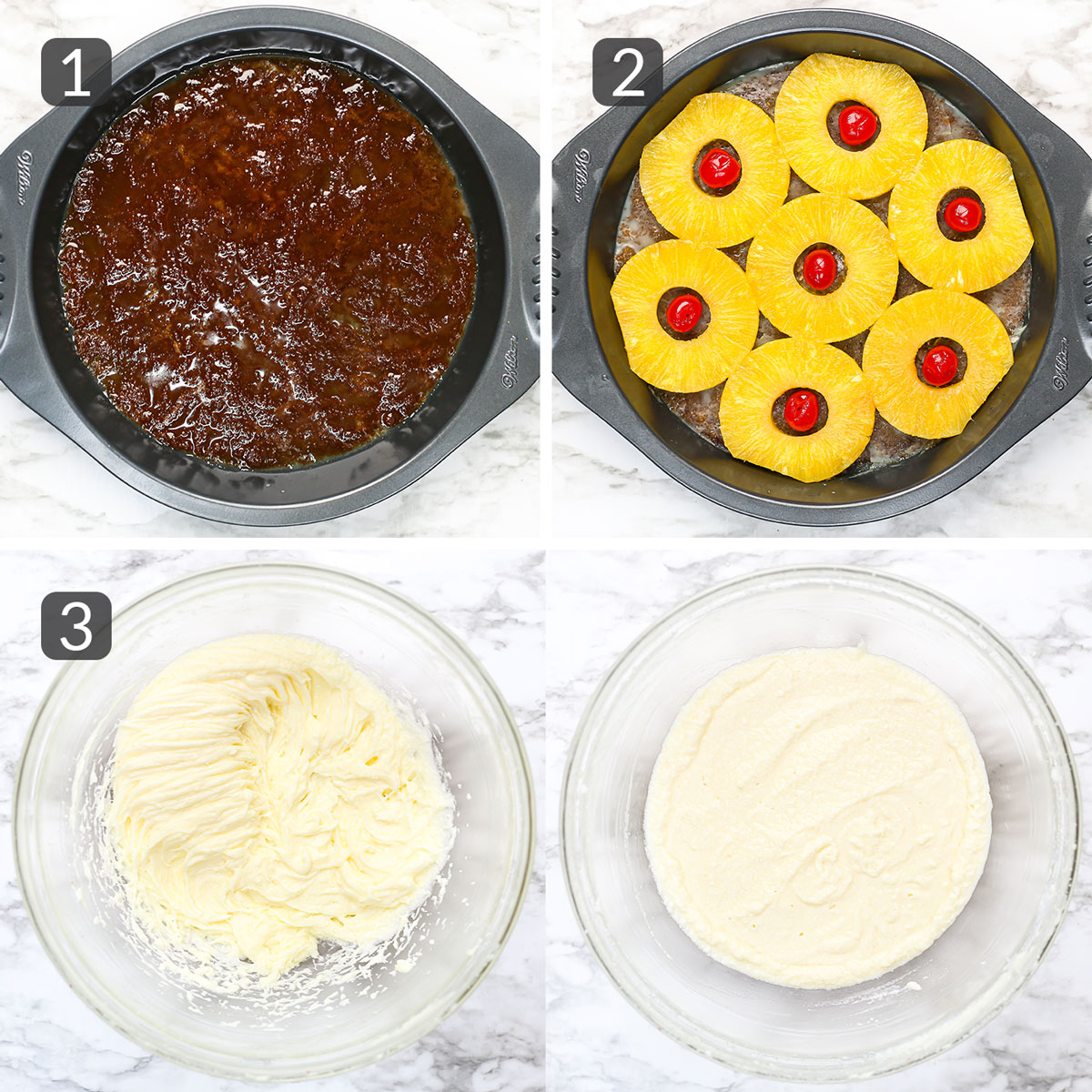step photos showing how to make pineapple upside down cake topping and batter