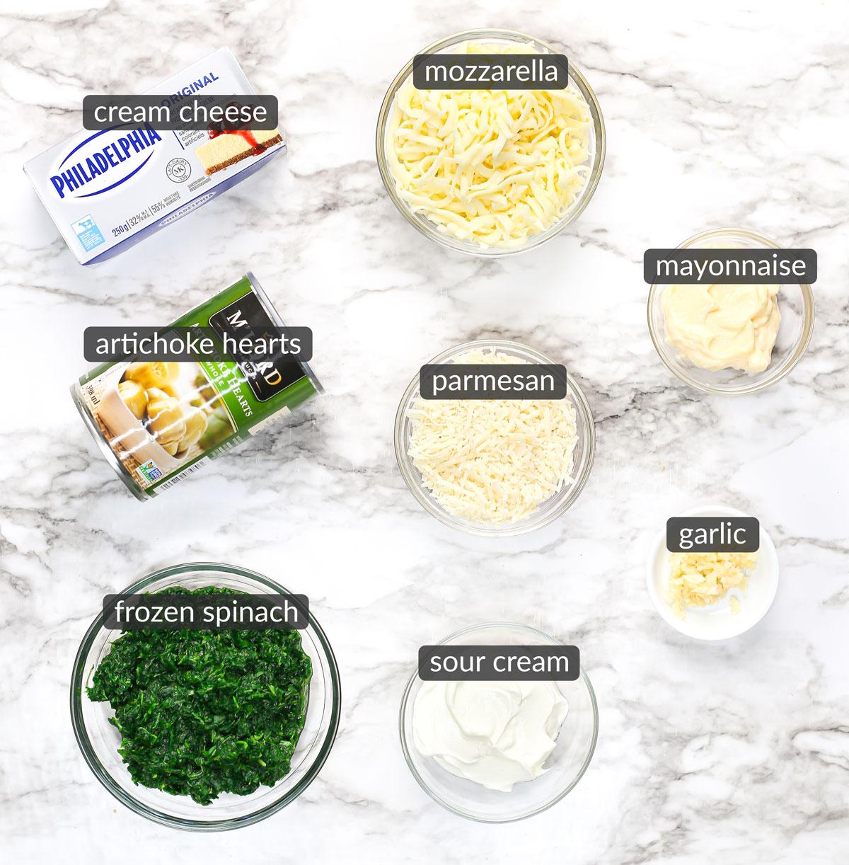 ingredients in spinach artichoke dip