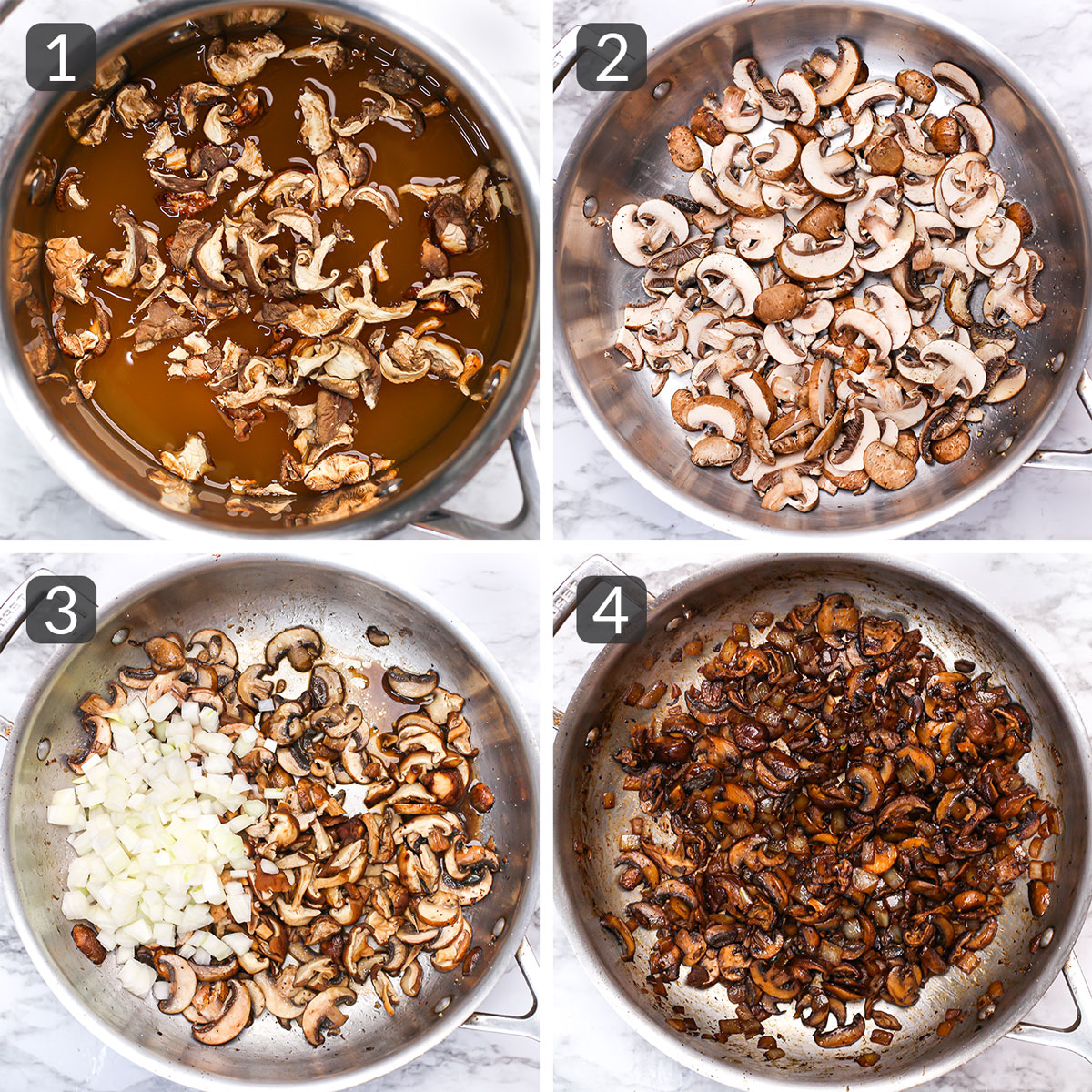 step photos showing how to caramelize mushrooms and onion