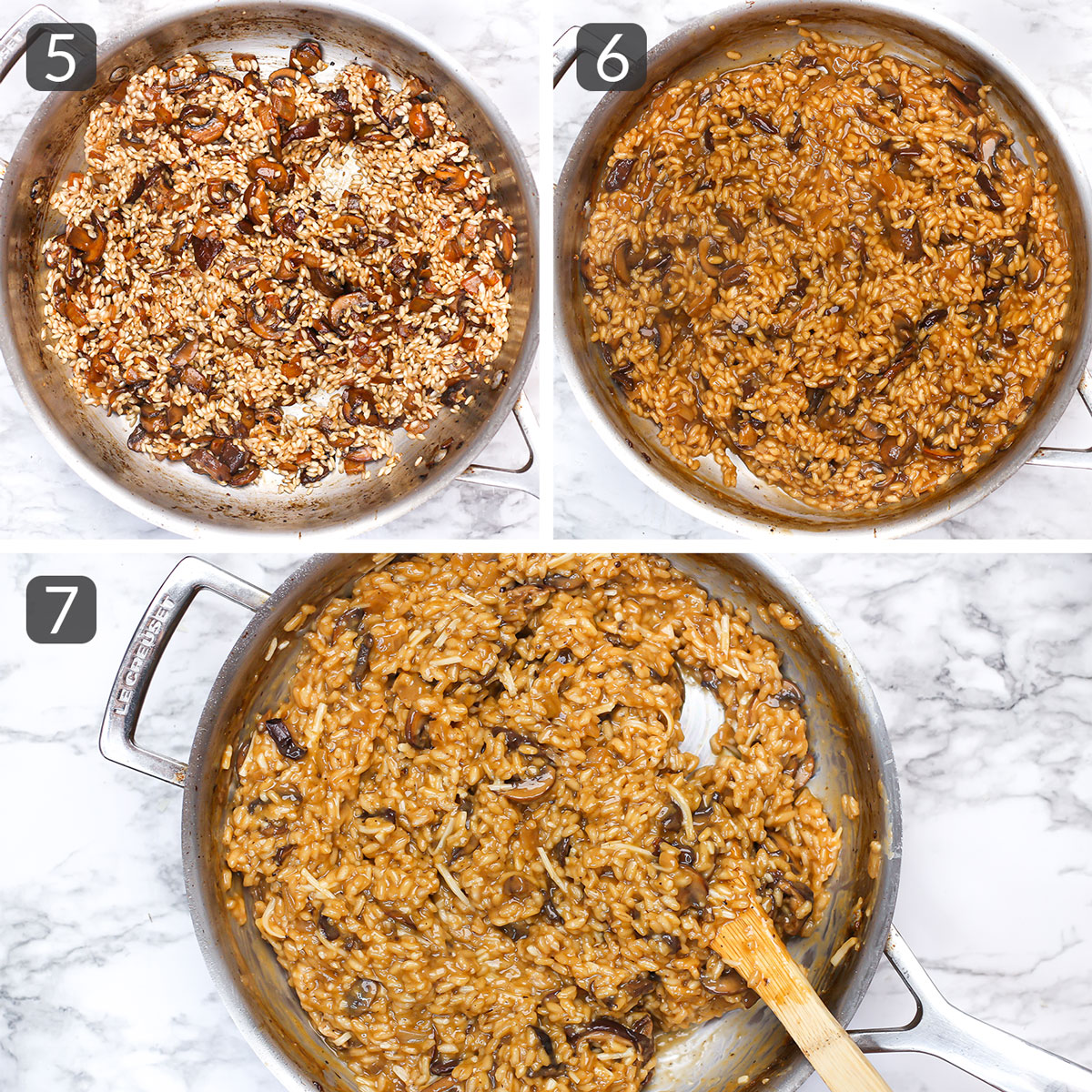 step photos showing how to make vegan risotto