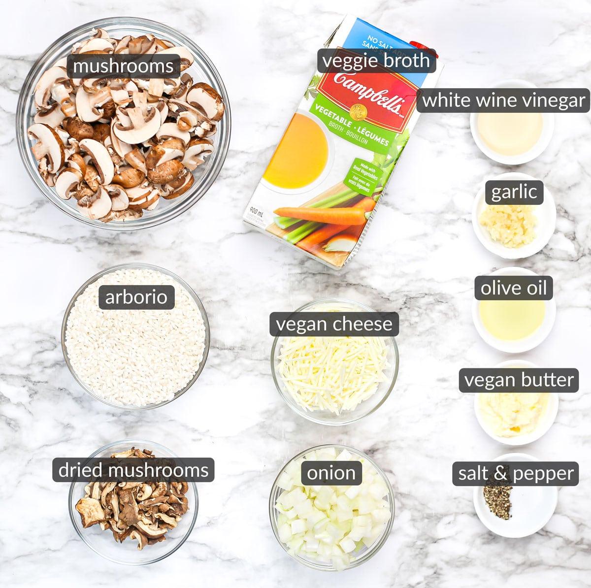 ingredients used to make vegan risotto