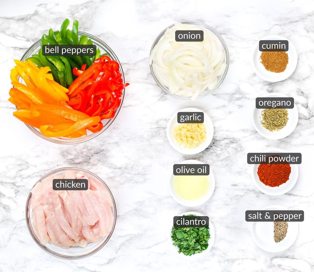 ingredients in skillet chicken fajitas
