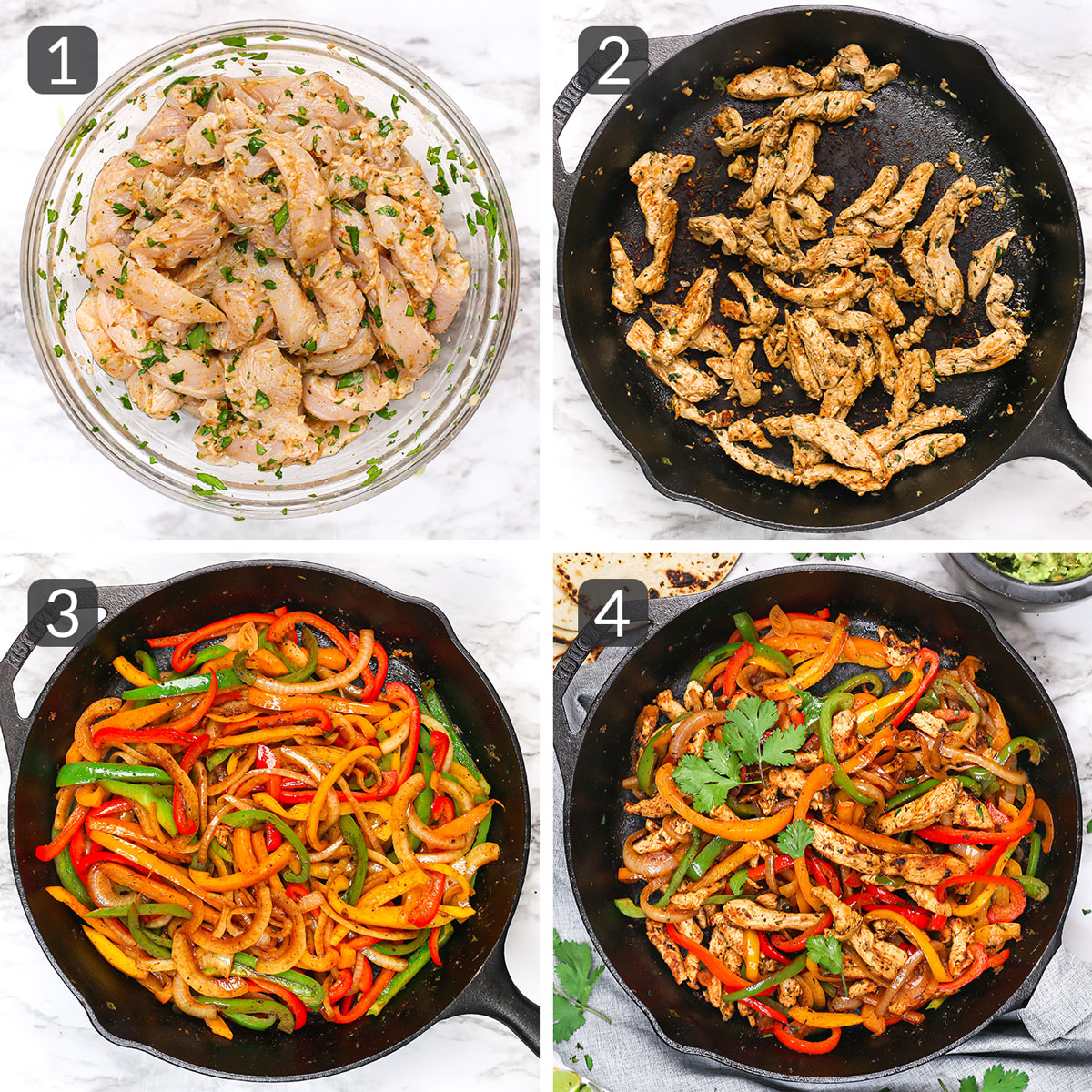 a photo collage showing step-by-step instructions for making chicken fajitas