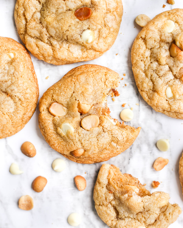 a white chocolate macadamia nut cookie