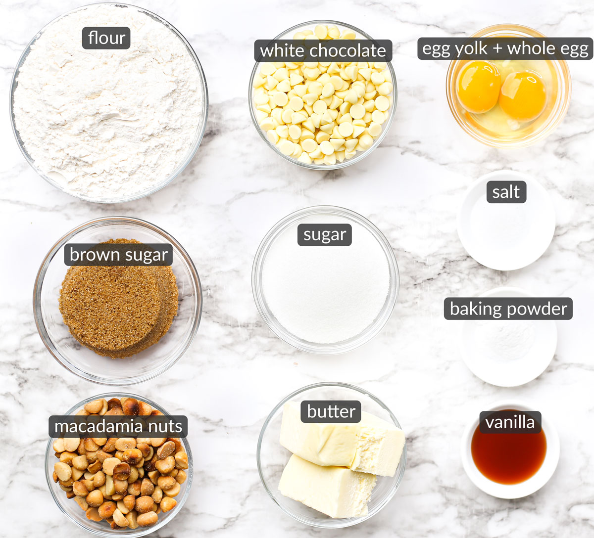 ingredients used to make white chocolate macadamia nut cookies