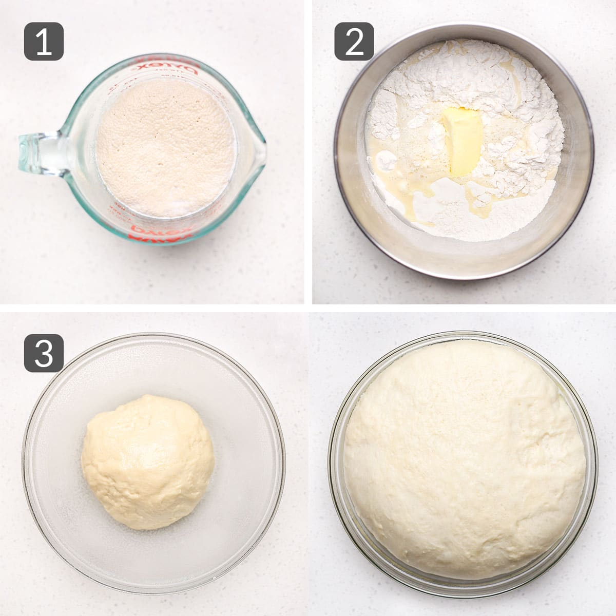 a step photo collage showing how to make donut dough