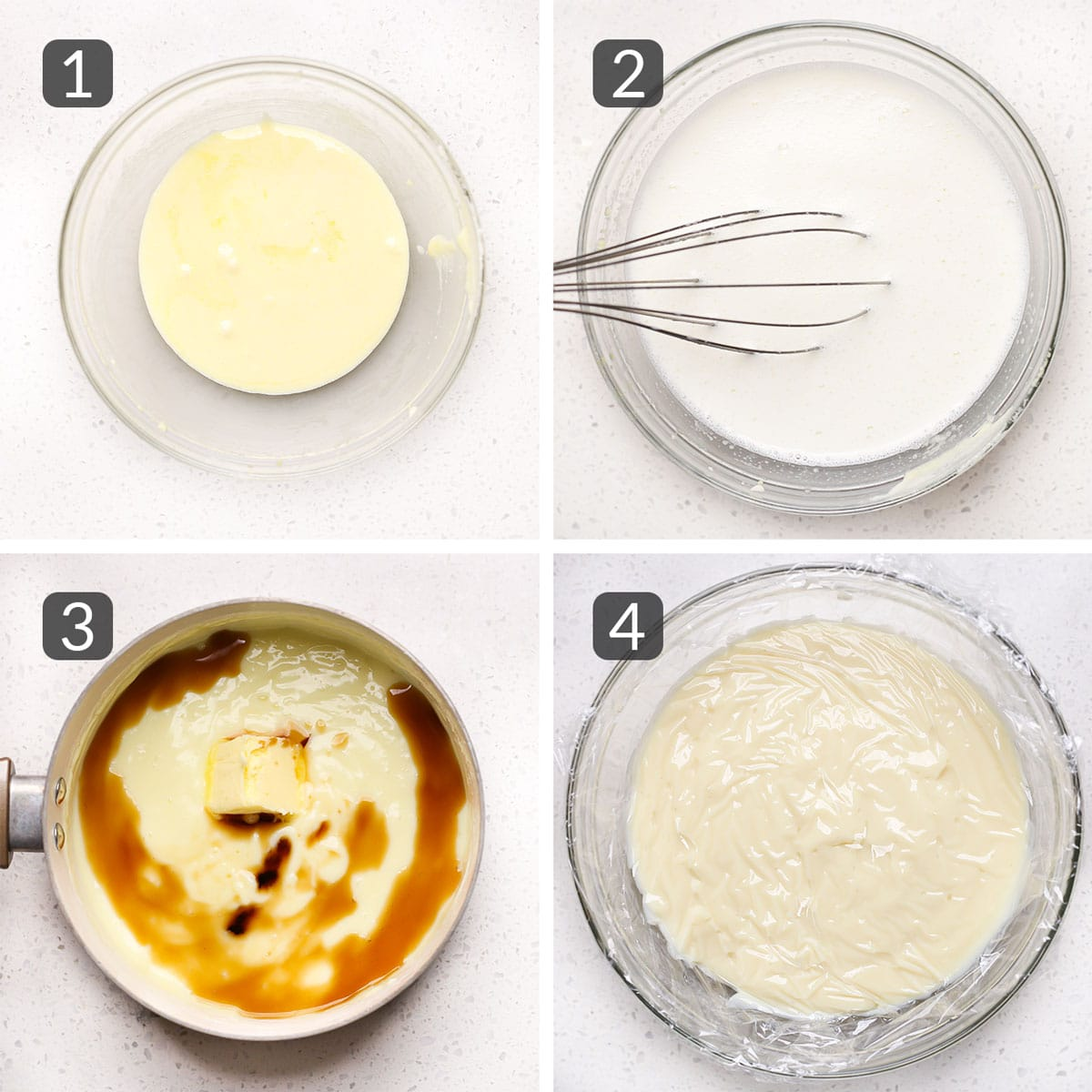 a step photo collage showing how to make donut custard