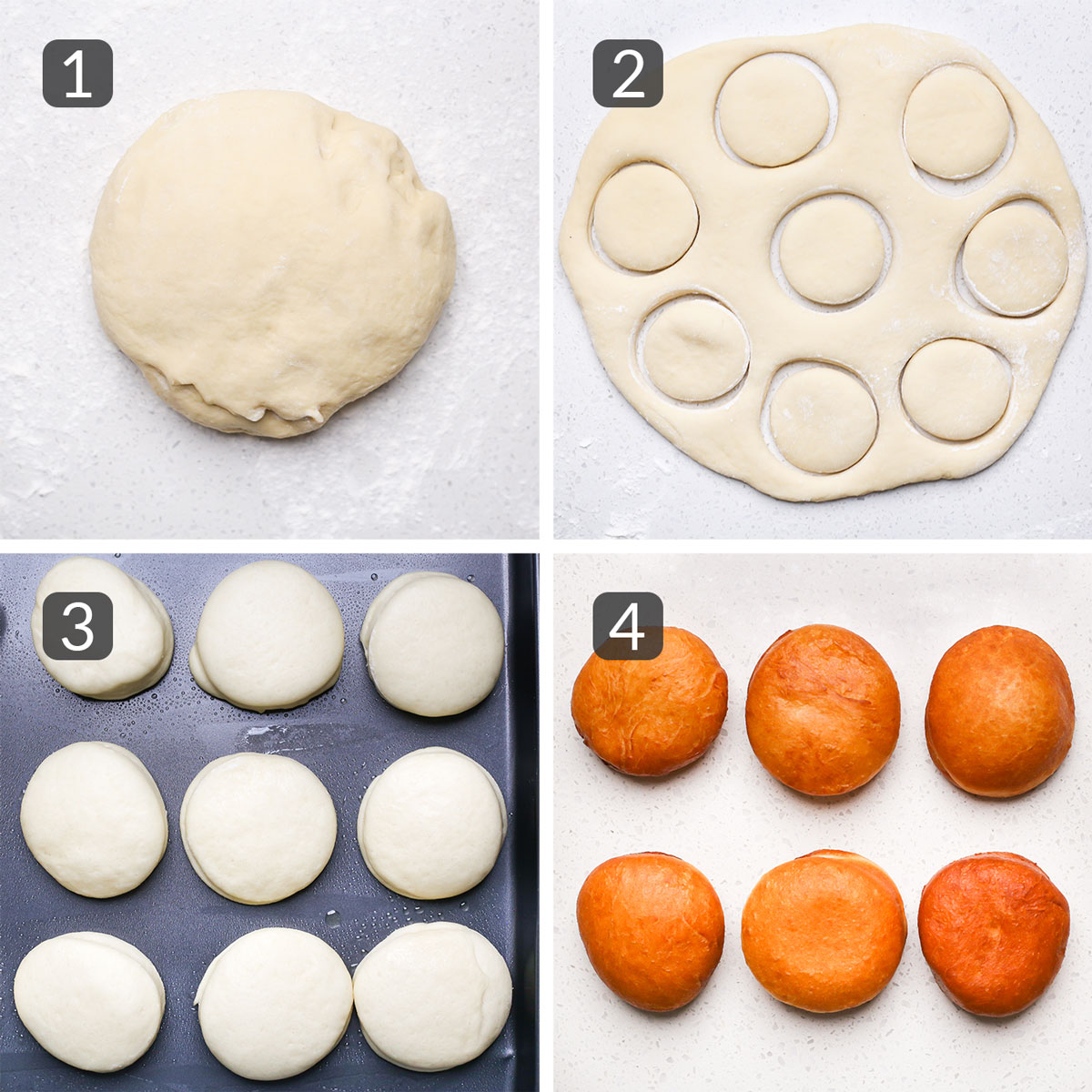 a step photo collage showing how to roll, cut, and fry donut dough