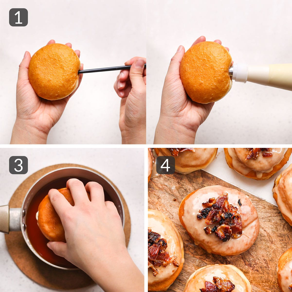 a step photo collage showing how to fill and glaze maple bacon donuts
