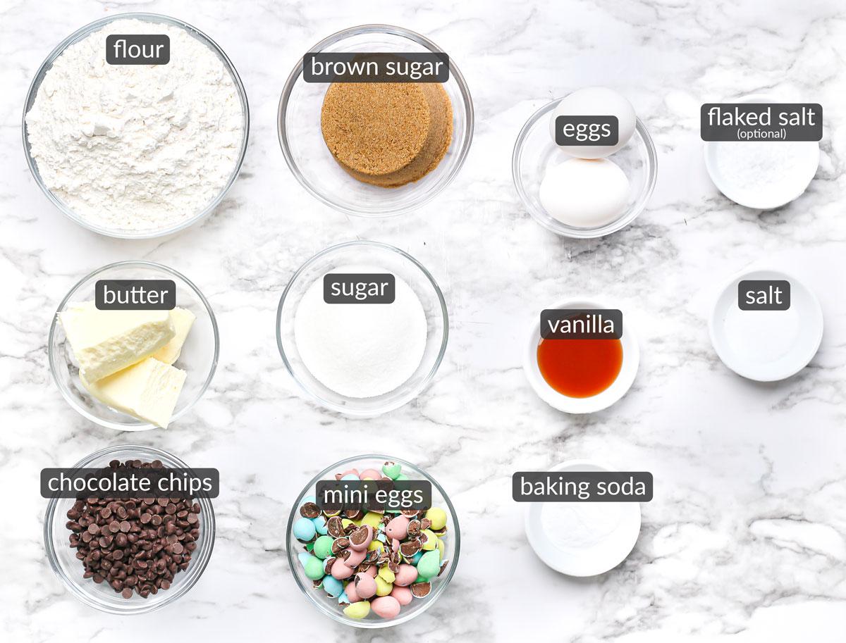 ingredients in mini egg cookie bars