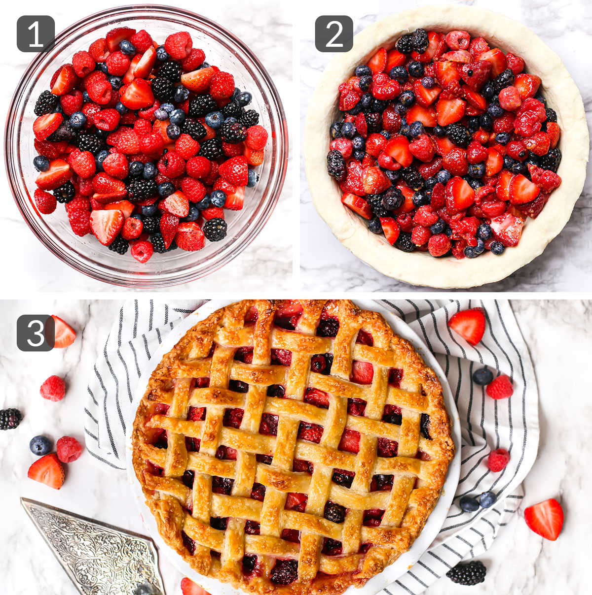 step photos showing how to make berry pie filling
