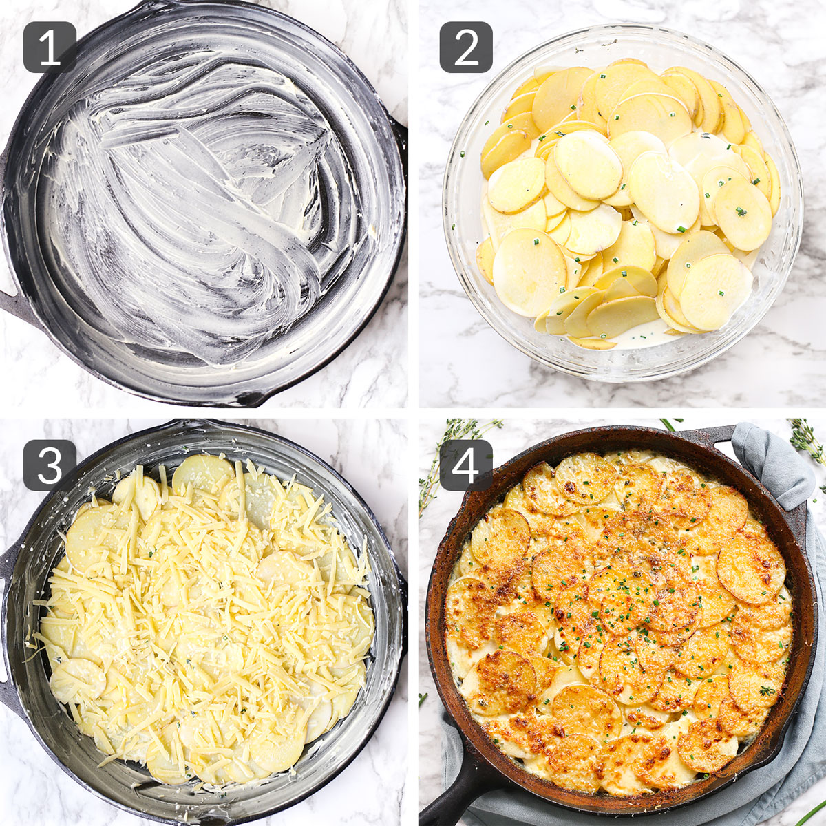 a photo collage showing steps to make au gratin potatoes
