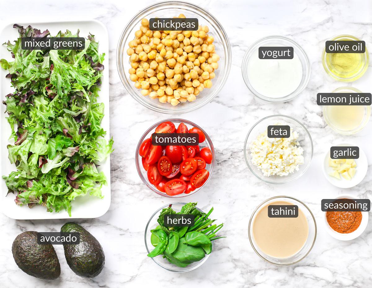 ingredients used to make roasted chickpea salad