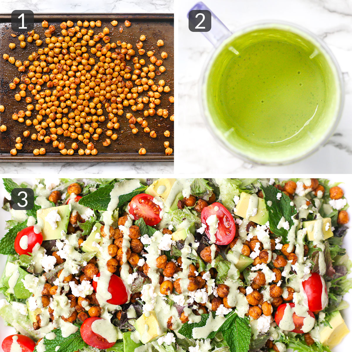 step photos showing how to make roasted chickpea salad