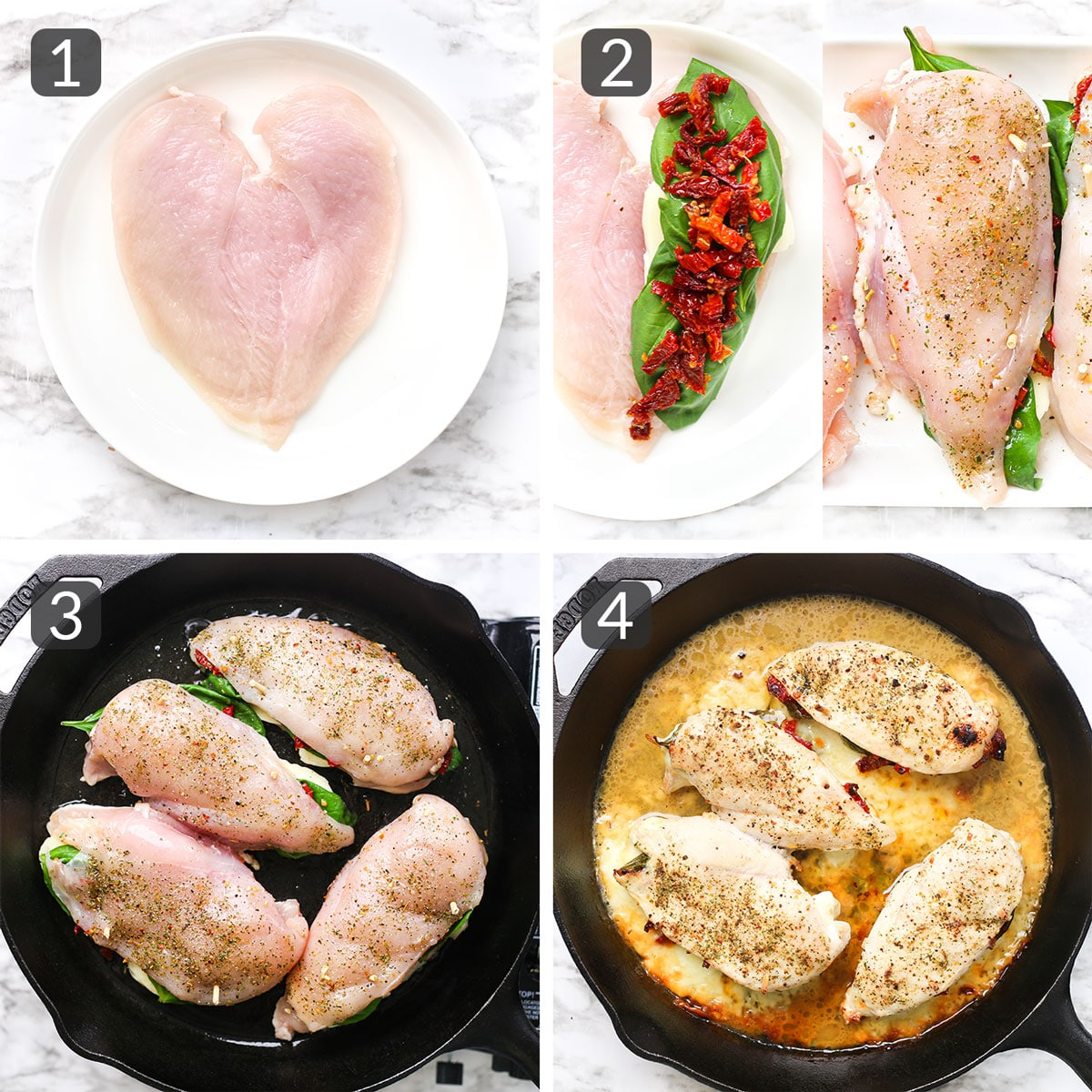 a step photo collage showing how to make tuscan stuffed chicken breasts