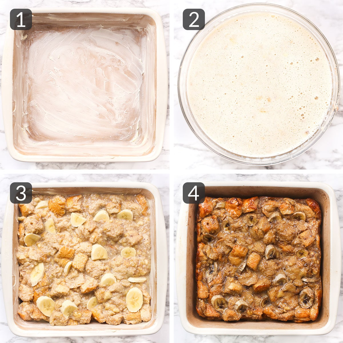 Step photos showing how to make banana bread pudding