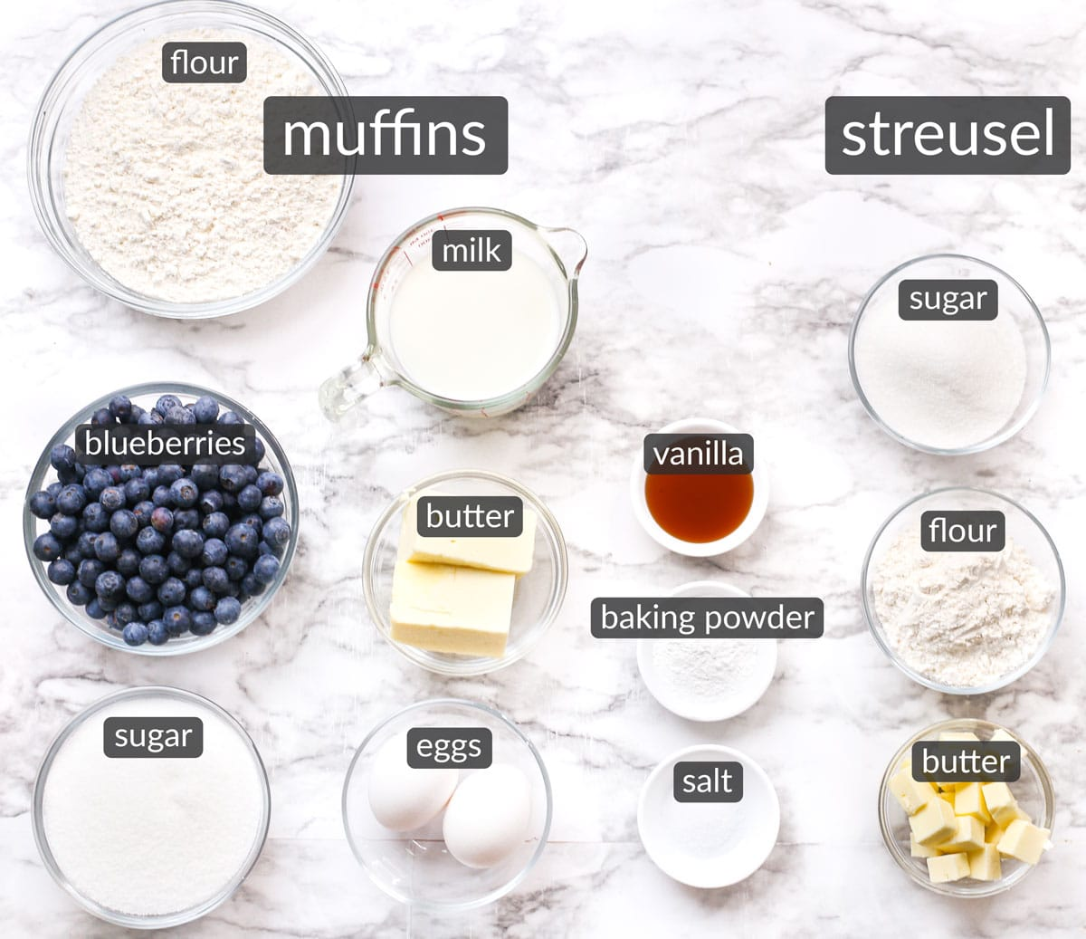 ingredients in bakery style blueberry streusel muffins