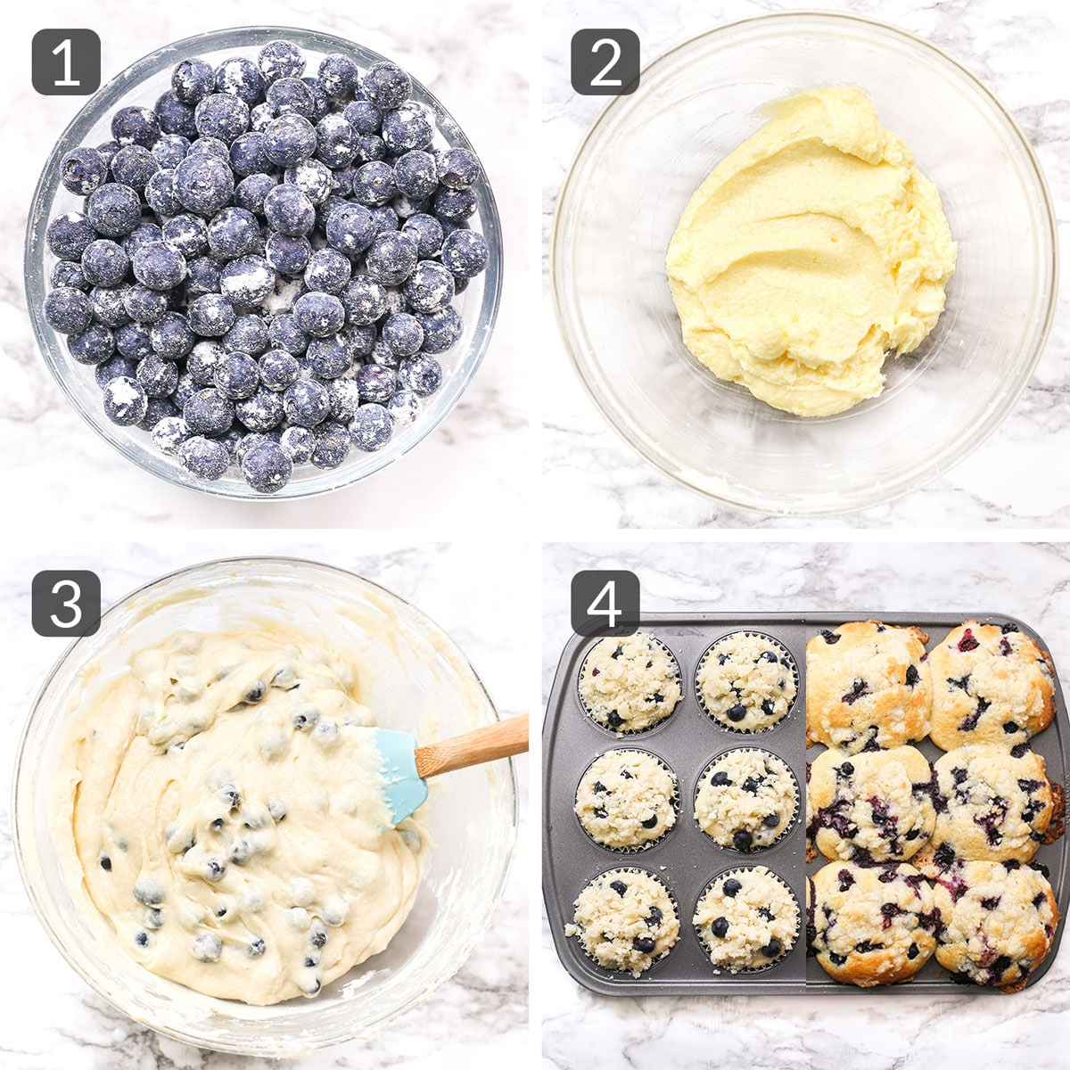 a step collage showing how to make blueberry streusel muffins