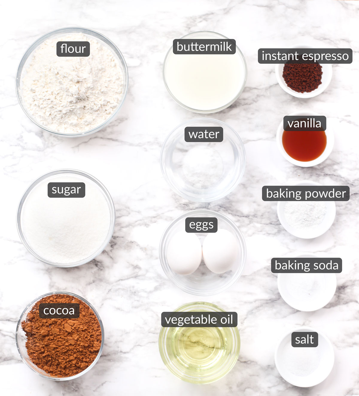ingredients used to make rich chocolate cake