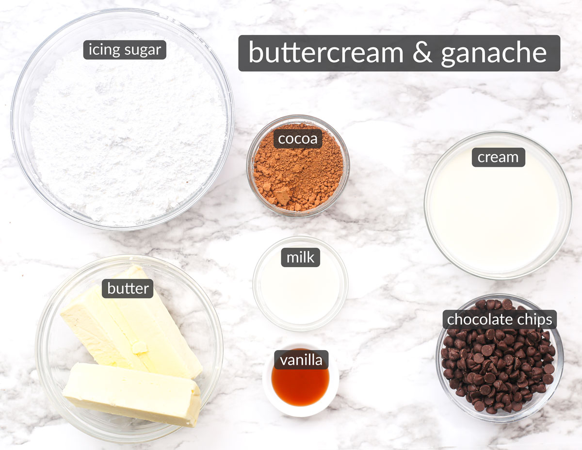 ingredients used to make chocolate buttercream and chocolate ganache