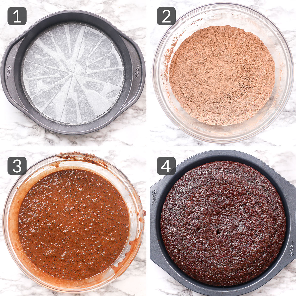 a step collage showing how to make chocolate cake