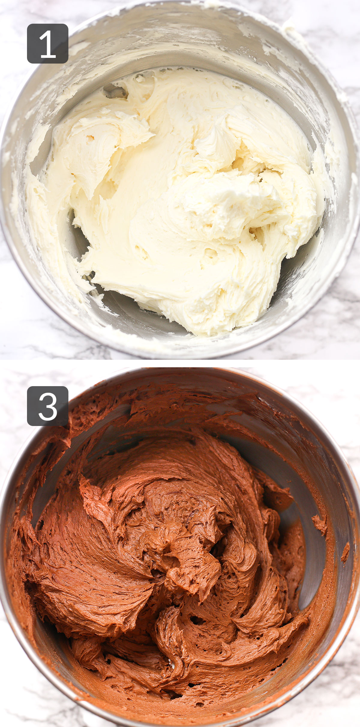 a step collage showing how to make chocolate buttercream