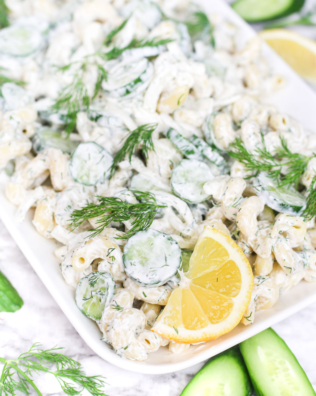 creamy cucumber pasta salad with fresh lemon and dill