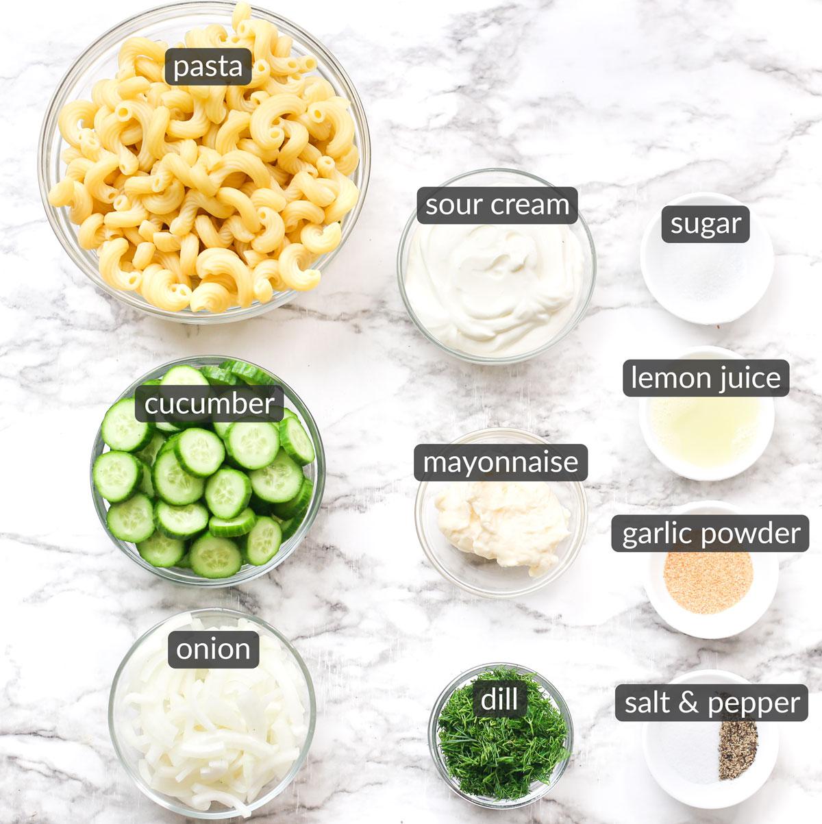 ingredients used to make creamy cucumber pasta salad