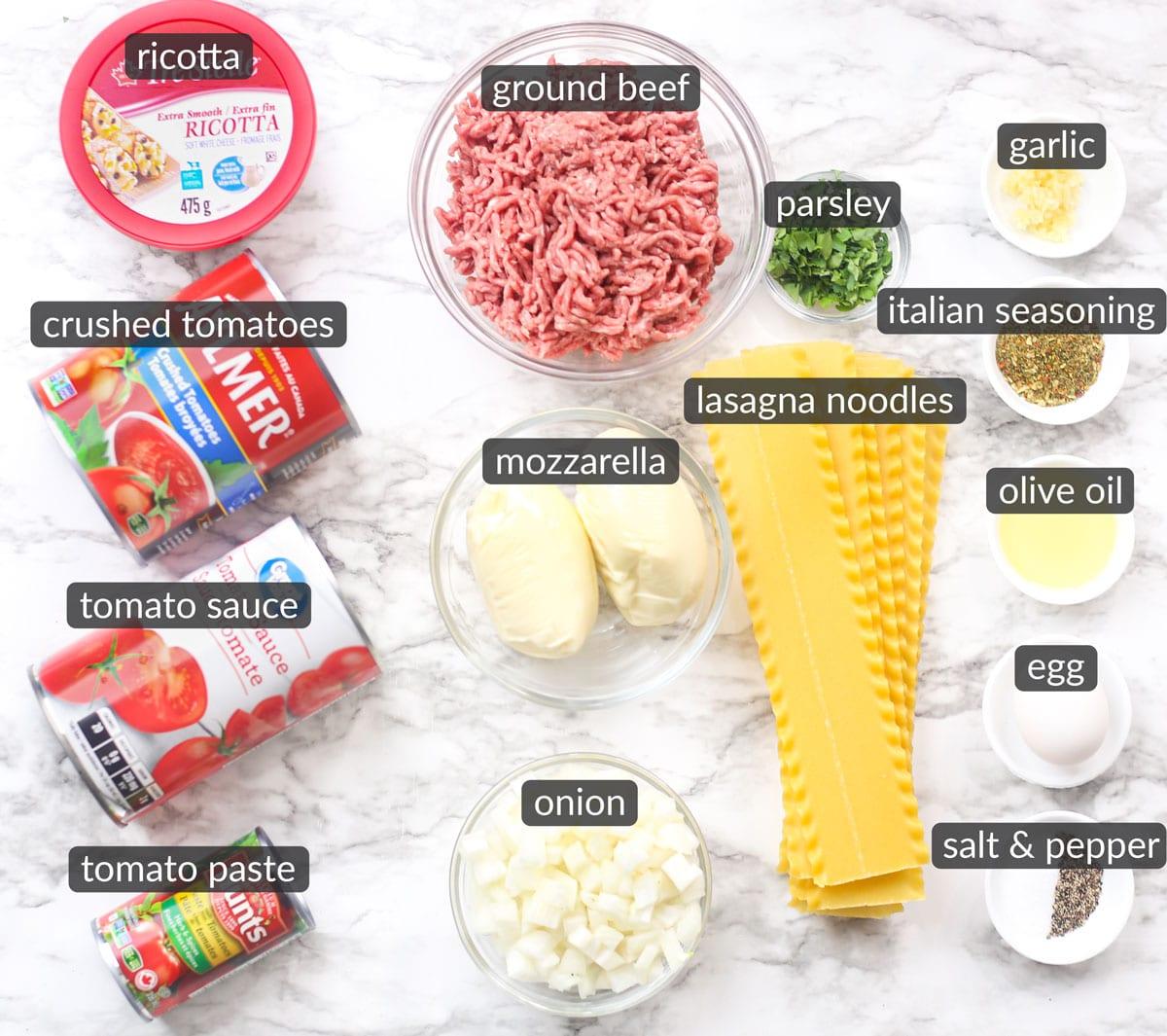 ingredients used to make homemade lasagna