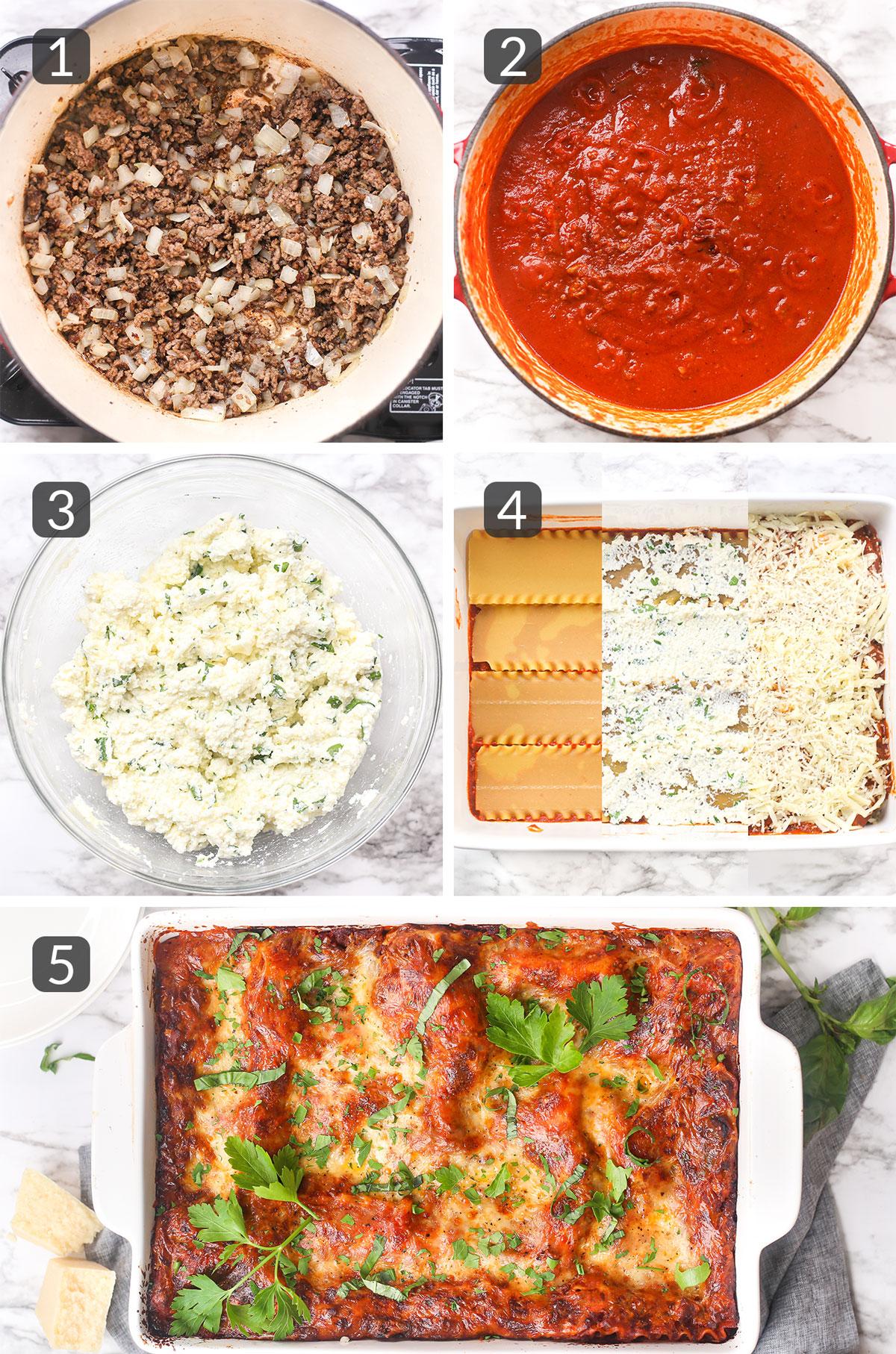 step photos showing how to make homemade lasagna