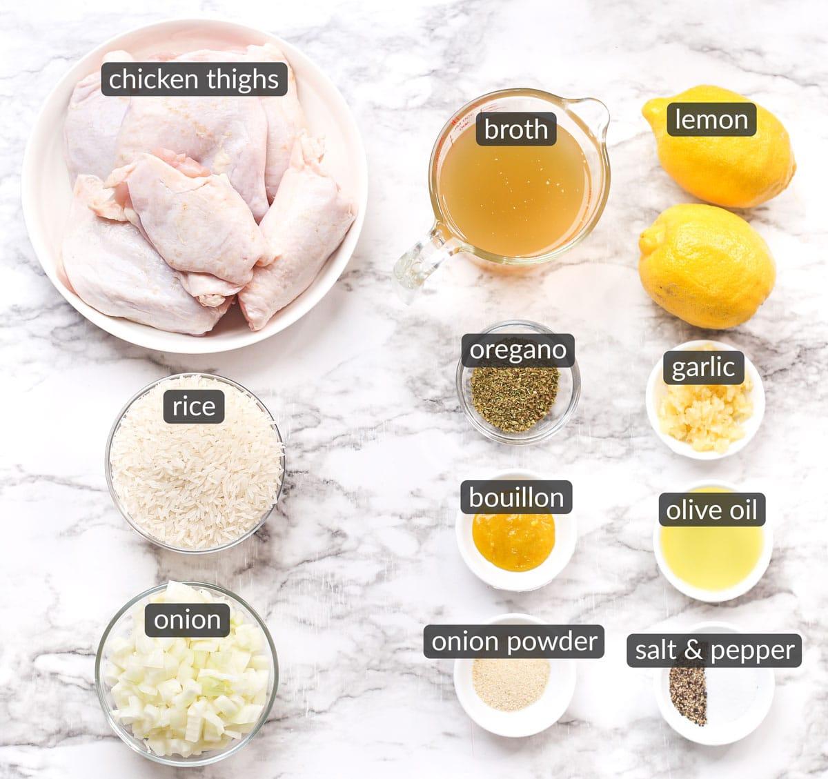 ingredients in one pot mediterranean chicken and rice