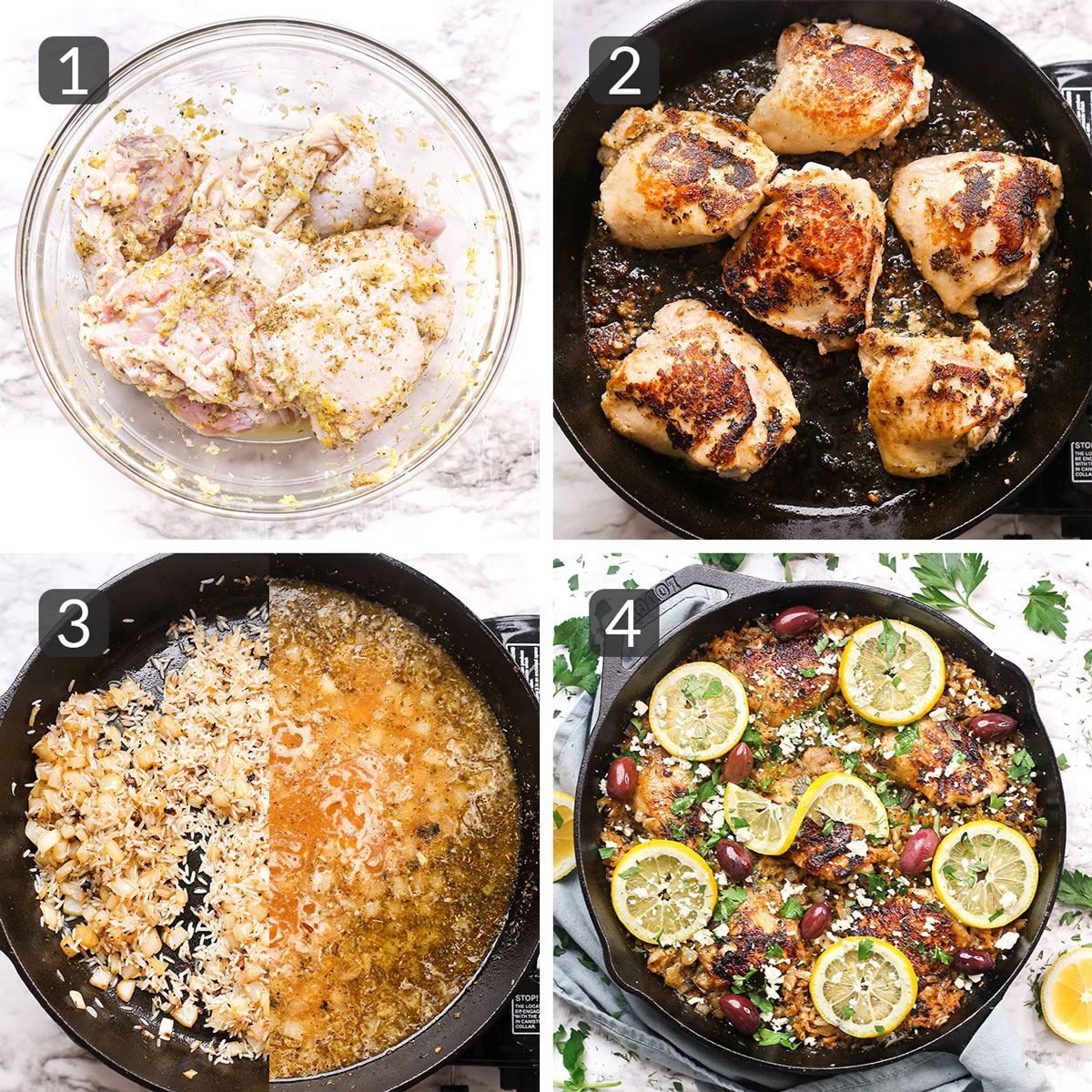 a step collage showing how to make one pot mediterranean chicken and rice