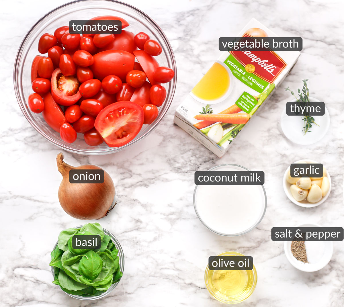 ingredients used to make roasted tomato soup