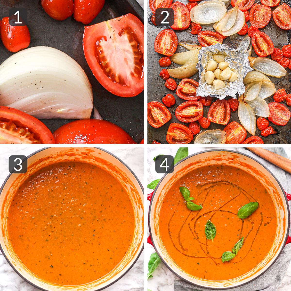 step photos showing how to make roasted tomato soup