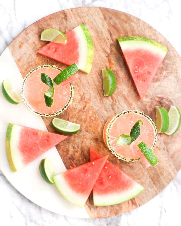 overhead photo of watermelon margarita platter