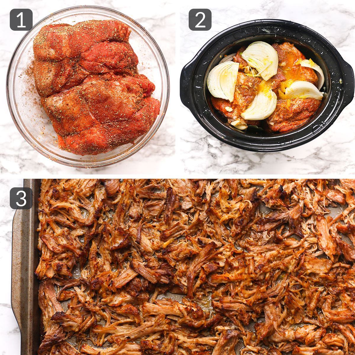 a step collage showing how to make pork carnitas