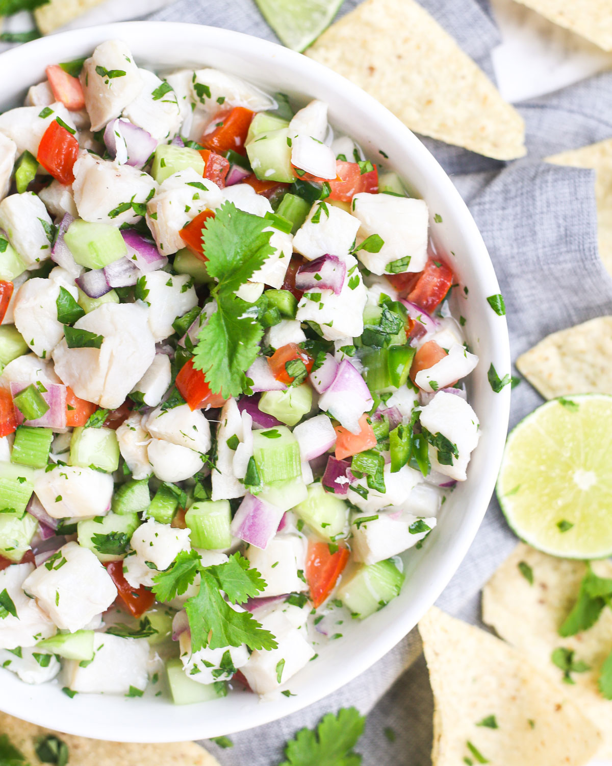 a bowl of ceviche with fish