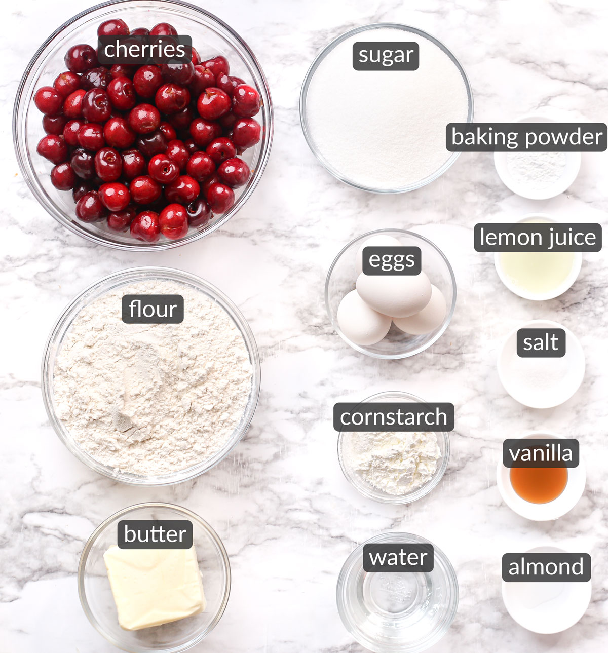 ingredients used to make homemade cherry pie bars
