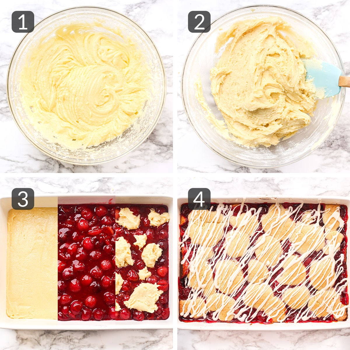 step collage showing how to make cherry pie bars