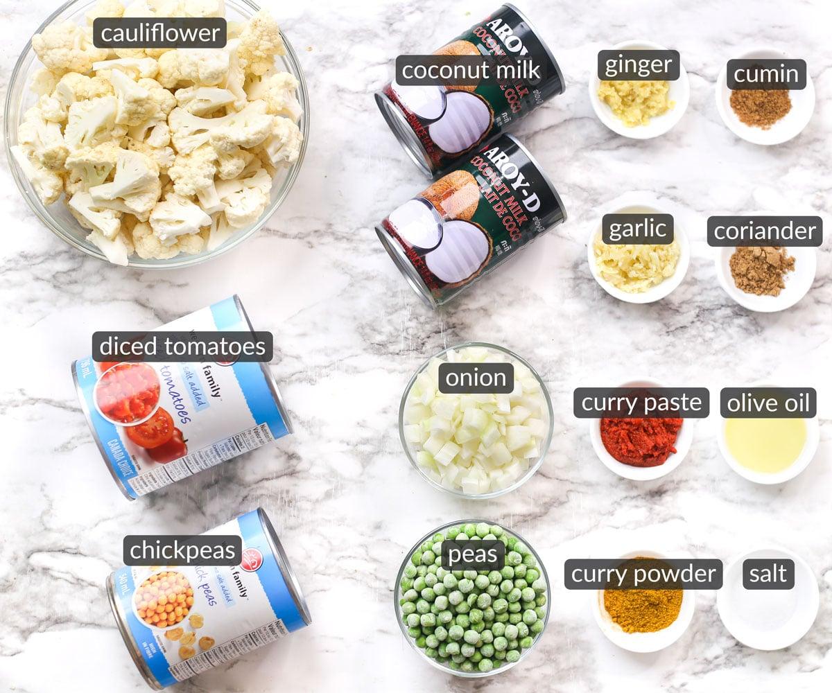 ingredients used to make vegan cauliflower curry