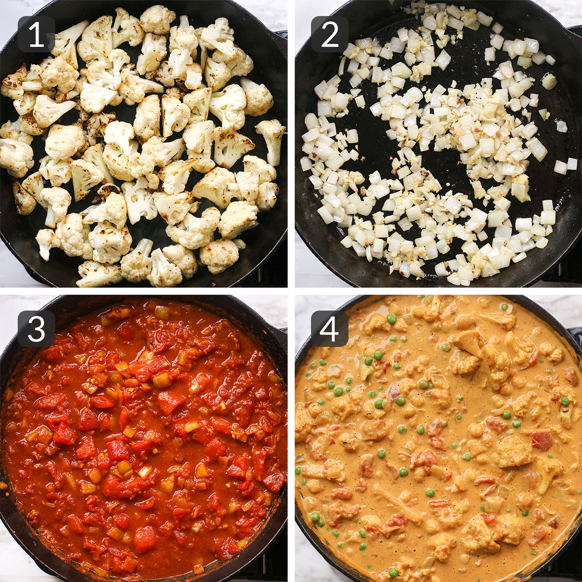 a step photo collage showing how to make vegan cauliflower curry