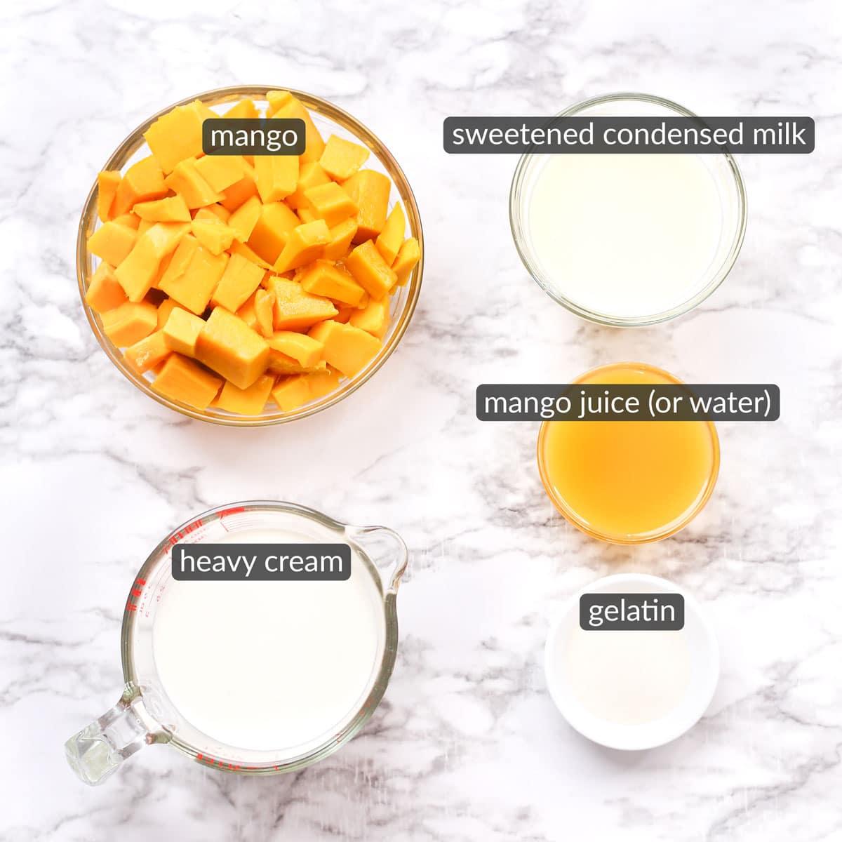 ingredients used to make mango mousse