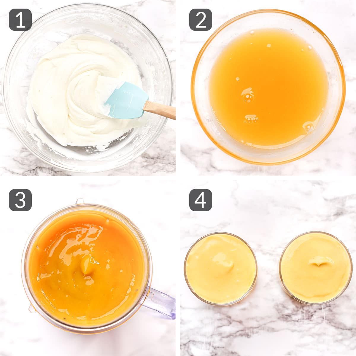 step photos showing how to make mango mousse
