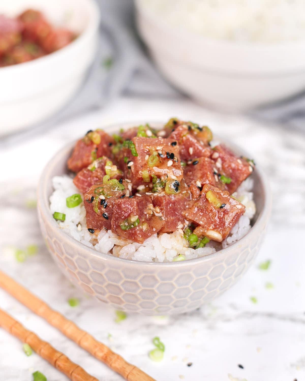 ahi tuna poke served over rice