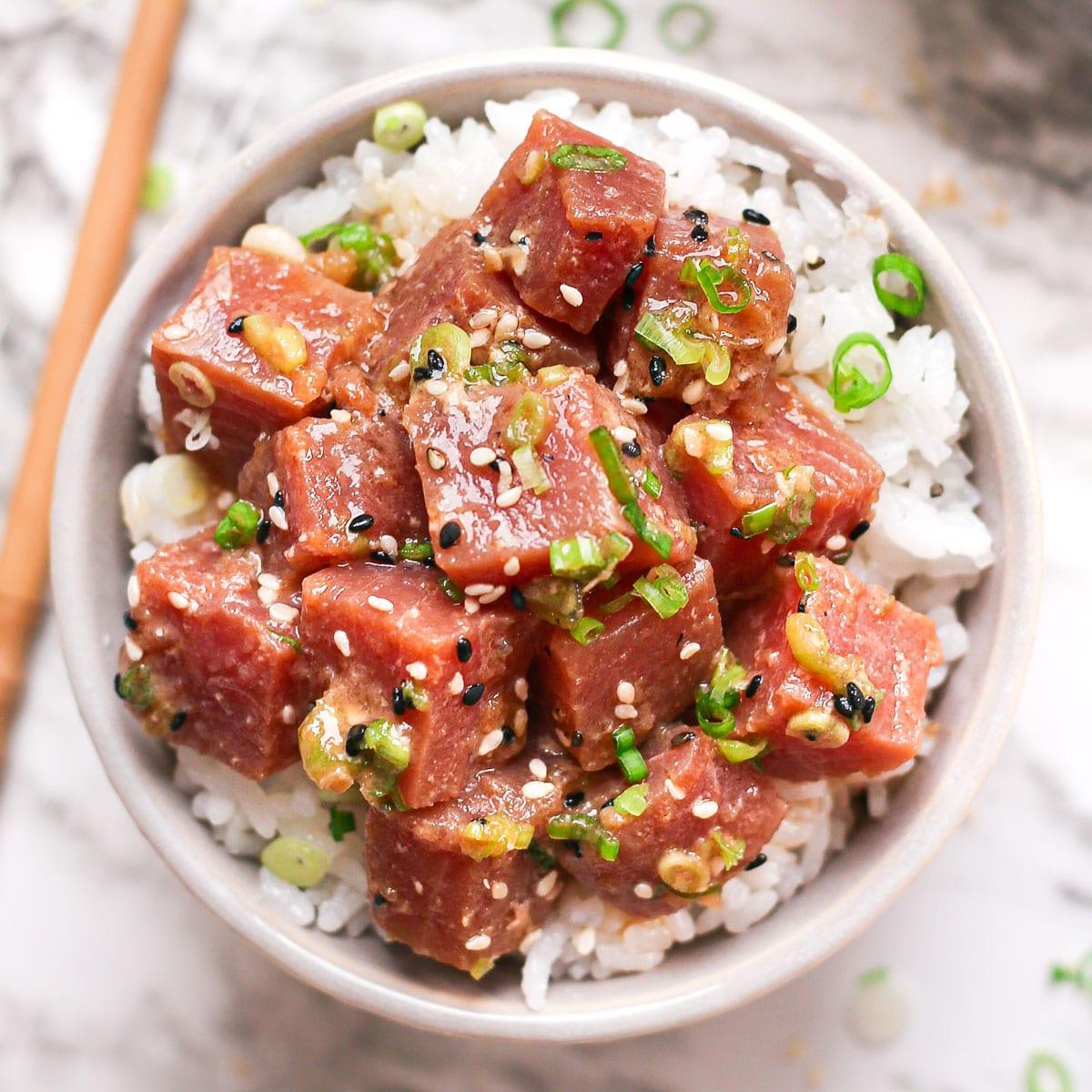 a bowl of traditional Hawaiian tuna poke