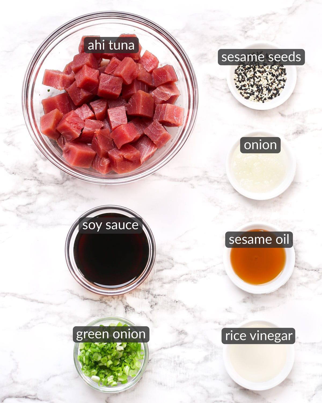 ingredients used to make tuna poke