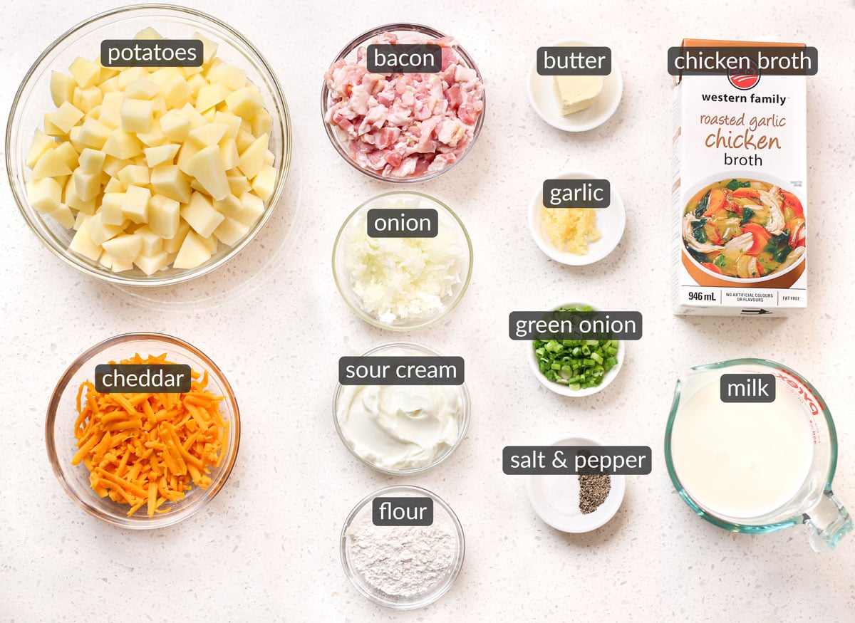 ingredients used to make loaded baked potato soup