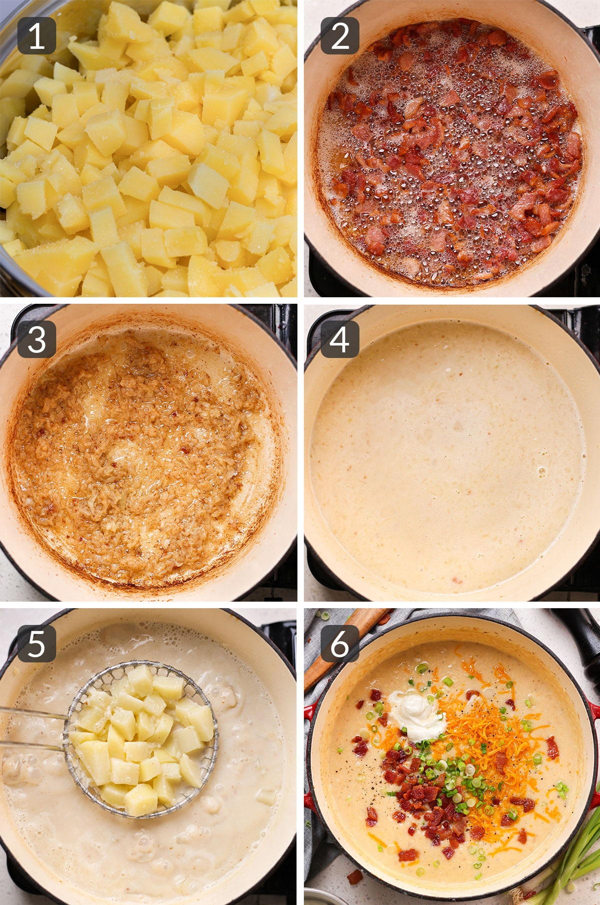 step photos showing how to make loaded baked potato soup